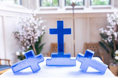 blue glass crosses