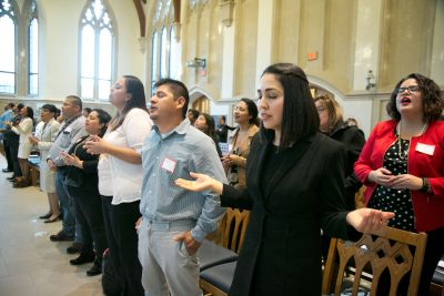 Alma Tinoco Ruiz worships with Hispanic ministers in Goodson Chapel