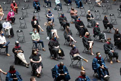 Socially distant graduation event in Cameron Indoor Stadium
