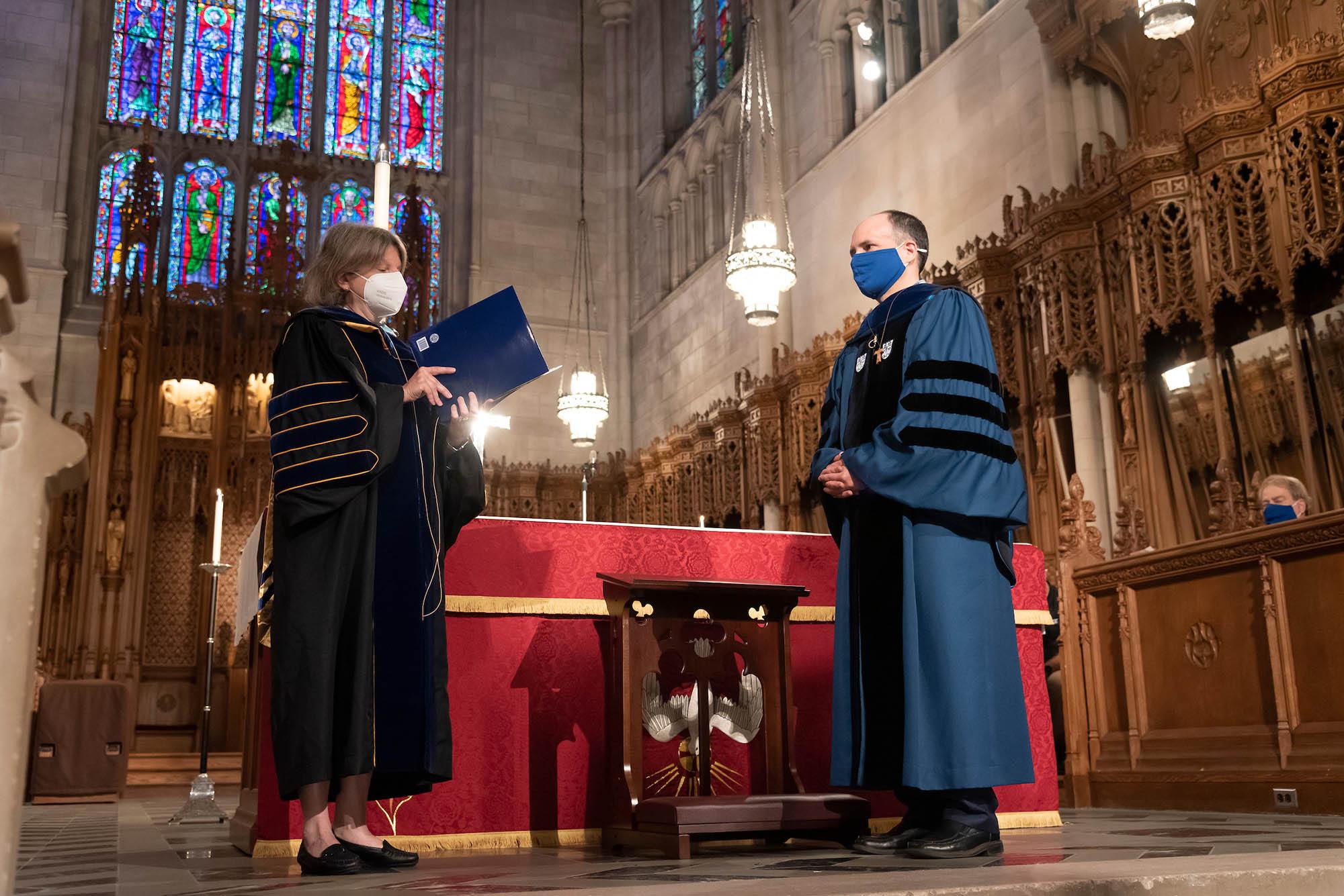 Provost Sally Kornbluth installs Dean Edgardo Colon-Emeric
